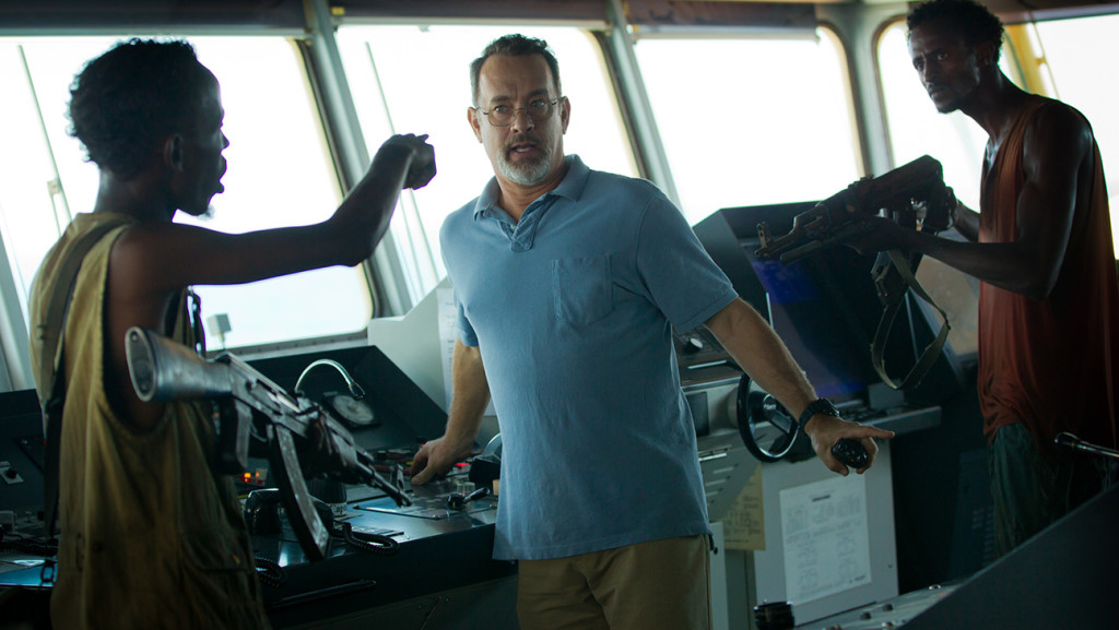"L-r, Barkhad Abdi, Tom Hanks and Faysal Ahmed star in Columbia Pictures' ""Captain Phillips."""