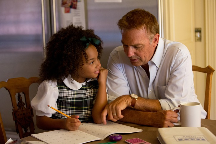 BW-00797 Kevin Costner and Jillian Estell star in Relativity Media's BLACK OR WHITE. © 2014 BLACKWHITE, LLC Photo Credit: Tracey Bennett