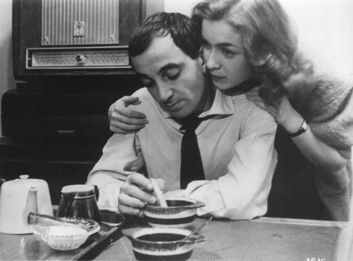Charles Aznavour and Marie Dubois in Franois Truffaut's SHOOT THE PIANO PLAYER (1960). Credit: Janus Films. Playing 9/5-9/11